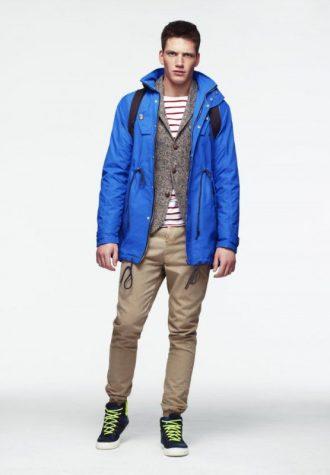 pánská modrá bunda, tvídové sako, pruhované triko a khaki kalhoty ASOS
