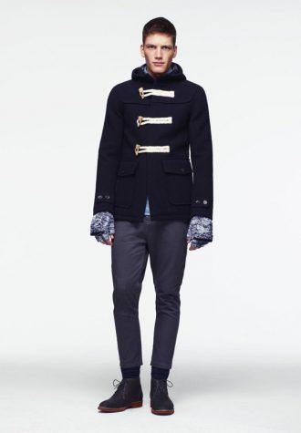 pánský tmavě modrý zimní kabát a tmavě šedé kalhoty ASOS