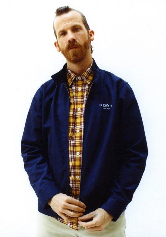 pánská modrá bunda a kostkovaná košile Supreme