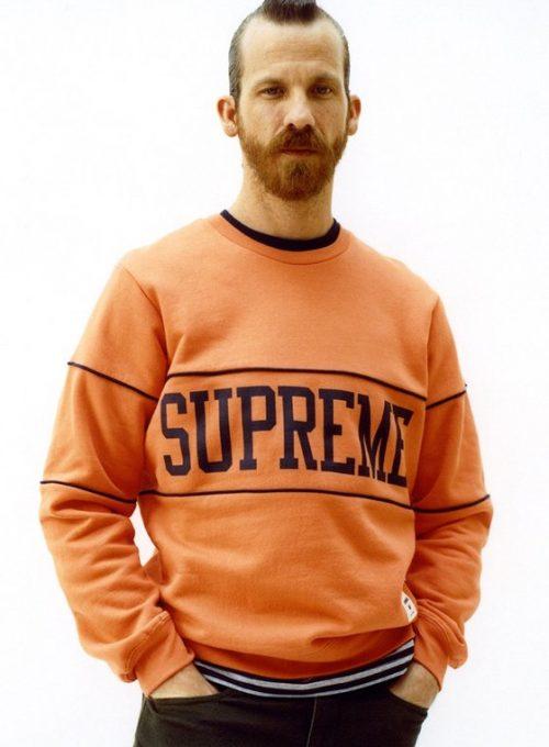 pánská oranžová mikina s logem Supreme