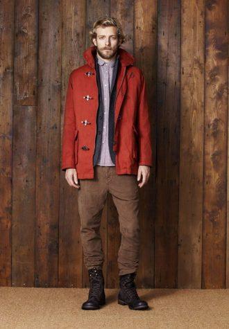 pánská červená bunda, šedé sako, fialová košile a hnědé kalhoty Ben Sherman