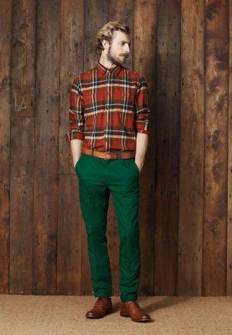 pánská kostkovaná košile a zelené kalhoty Ben Sherman