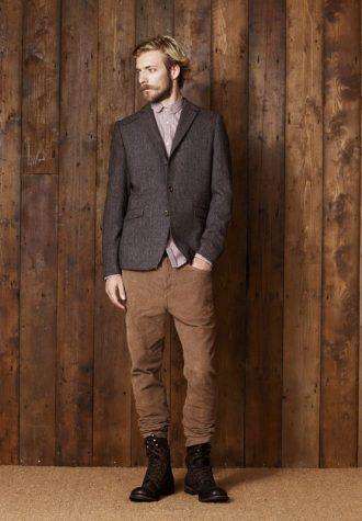 pánské šedé sako a hnědé kalhoty Ben Sherman