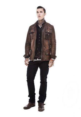 pánská hnědá kožená bunda, černá košile a kalhoty Beautiful Fül
