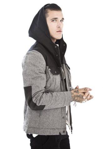 pánská šedá bunda a černá mikina Beautiful Fül