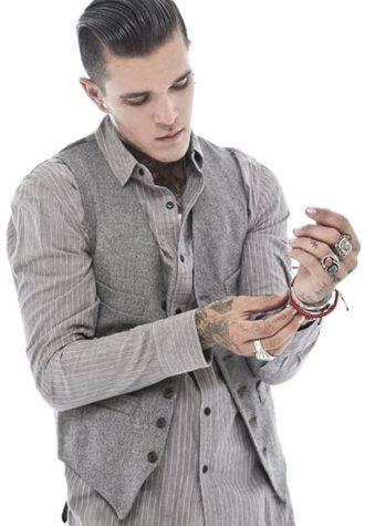 pánská šedá vesta a šedá košile s proužkem Beautiful Fül