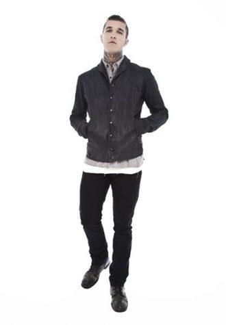 pánská tmavě šedá kožená bunda a černé kalhoty Beautiful Fül