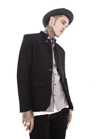 pánské černé sako, šedá košile a klobouk Beautiful Fül