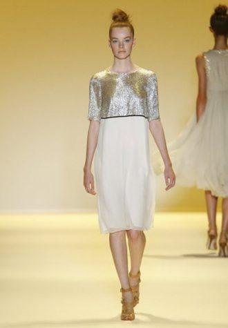 dámské stříbrno-bílé šaty Adam