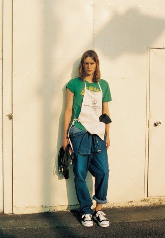 pánské zelené triko s potiskem a džíny SOPHNET
