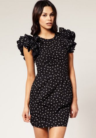 dámské černé šaty s puntíky Tofu (€ 56.77)