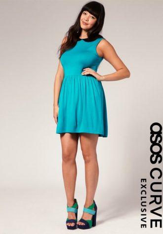dámské tyrkysové šaty ASOS CURVE (€ 32.05)