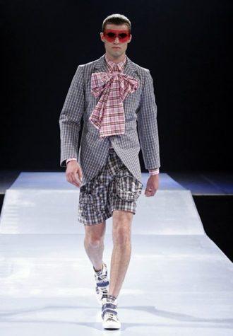 pánská kostkovaná košile s vázankou, sako a šortky Walter Van Beirendonck
