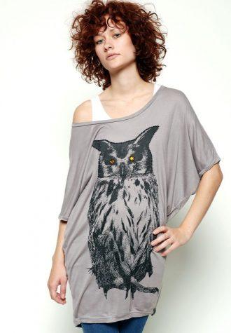 dámské šedé volné tričko se sovou Nümph (€ 39.90)