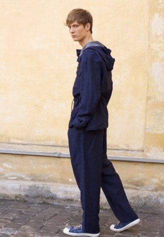 pánská modrá bunda s kapucí a kalhoty Ehud