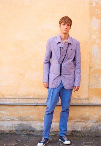 pánské fialové sako se zajímavým zapínáním Ehud