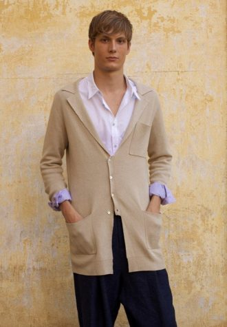 pánský béžový svetr na zapínání Ehud