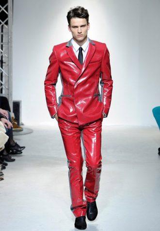 pánský červený oblek s šedými detaily Ehud