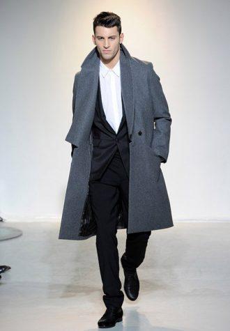 pánský dlouhý kabát tmavě šedý Ehud