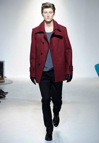 pánský tmavě červený krátký kabát Ehud