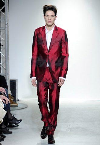 pánský tmavě červený oblek Ehud