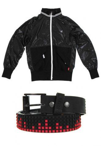 pánská černá bunda Saviour (£39.60) a pánský červeno-černý pyramidový pásek Lolife (£19.99)