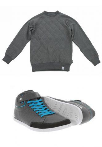 pánský šedý svetr Addict (£48) a šedé tenisky s modrými tkaničkami Boxfresh (£52)