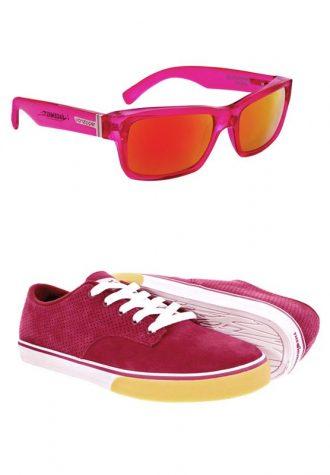 růžovo-žluté sluneční brýle VonZipper (£59.50) a pánské vínové tenisky Hundred Clothing (£34.90)