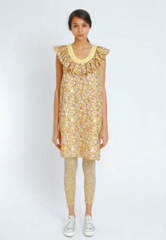 dámské béžové letní šaty se vzorem a límcem Eley Kishimoto