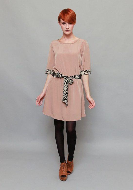 dámské béžové šaty po kolena se stuhou v pase (£ 30)