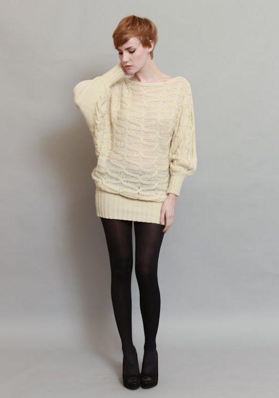 dámský bílý pletený svetr (£ 52)