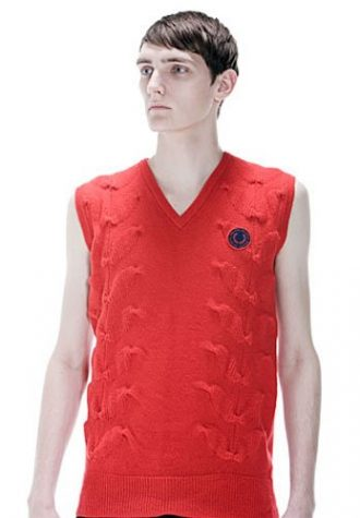 pánská červená pletená vesta Raf Simons for Fred Perry