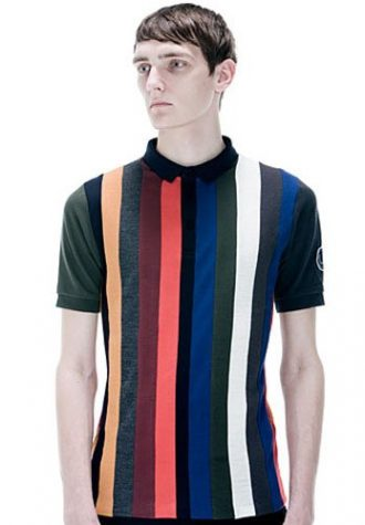 pánské barevné pruhované triko s límečkem Raf Simons for Fred Perry