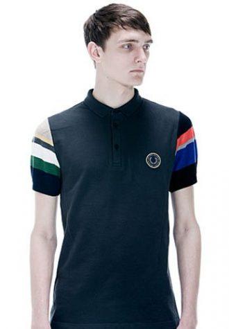 pánské černé triko s límečkem a barevnými krátkými rukávy Raf Simons for Fred Perry
