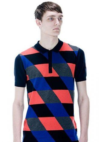 pánské černo-modro-oranžové triko s límečkem Raf Simons for Fred Perry