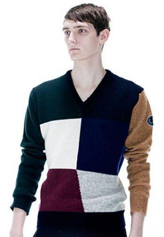 pánský barevný svetr s V výstřihem Raf Simons for Fred Perry