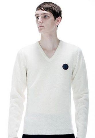 pánský bílý svetr s V výstřihem a dlouhými rukávy Raf Simons for Fred Perry