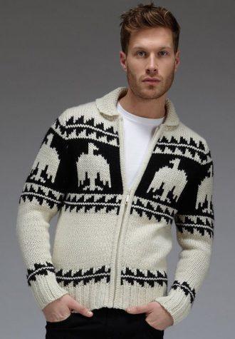 pánský černo-bílý svetr se vzory Burton (£41.40)