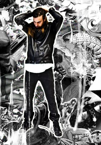 pánská černá kožená bunda a černé džíny Im King