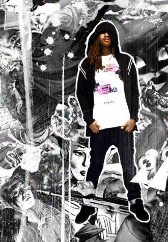 pánská černá mikina, bílé triko s potiskem a džíny Im King