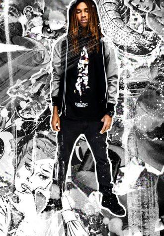 pánská šedivá bunda, černé triko s potiskem a džíny Im King