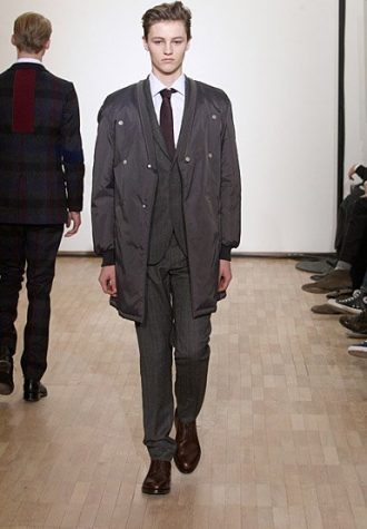 pánský černý oblek a kabát Raf Simons