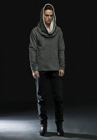 pánská šedá mikina s kapucí a černé džíny Complex geometries