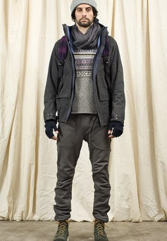 pánská šedá čepice, bunda, svetr a kalhoty Nonnative