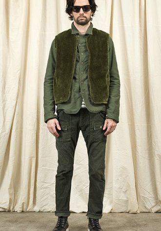 pánská zelená vesta, košile a kalhoty Nonnative