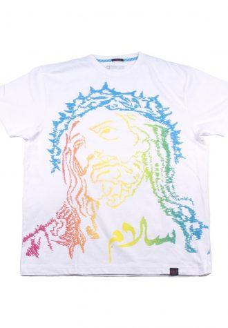 pánské bílé tričko s potiskem Kilo - Jesus Peace ($ 24)