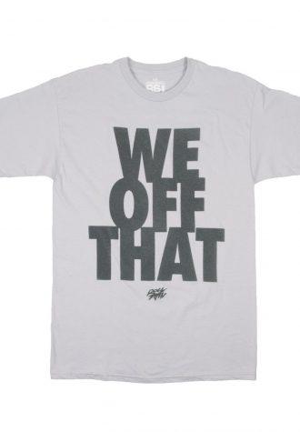 pánské šedé tričko s potiskem Rocksmith - We Off That ($ 28)