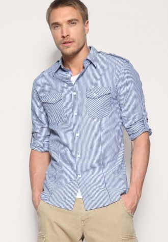 košile Laundered Striped Military Shirt (42.74 USD)