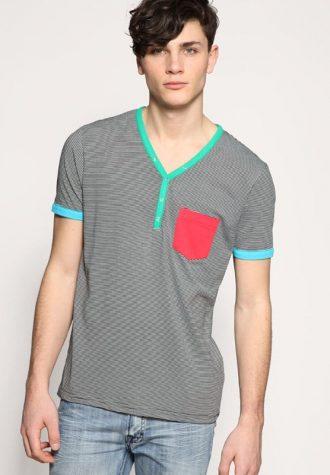 pánské šedé triko ASOS, typ Striped Contrast Trim Y-Neck (£ 5)