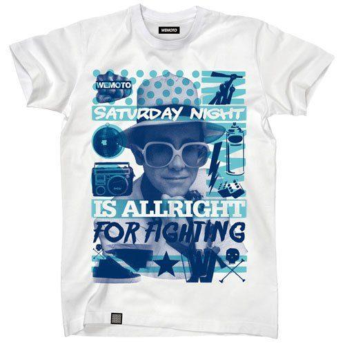 pánské bílé triko s potiskem Wemoto, typ Saturday Night (€ 34,90)